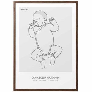Birth Poster Light in frame - Fødselsplakat lys i ramme