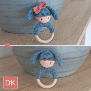 Hæklet Bidering Elly / Elliot - Crochet Teething Rattle Elly / Elliot