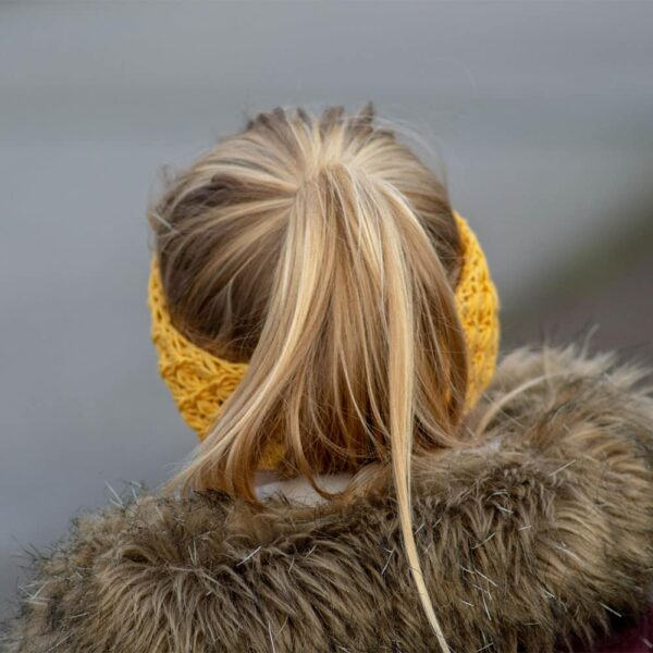 knitted daisy headband kids - strikket daisy pandebånd barn dk