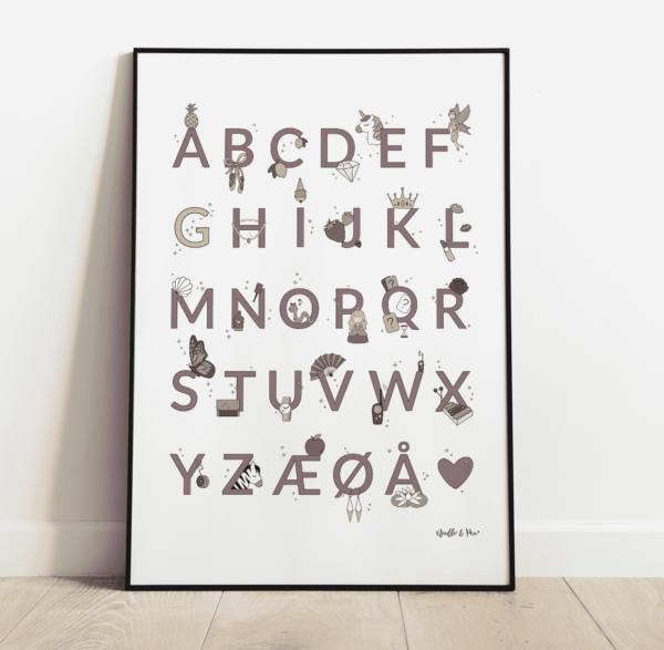 alfabetplakat - girly rose