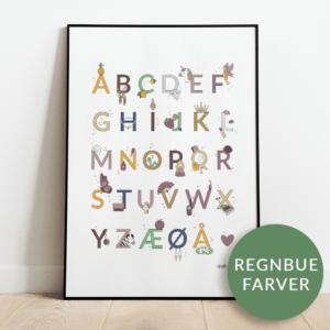 Alfabetplakat | Prinsesse | Regnbue