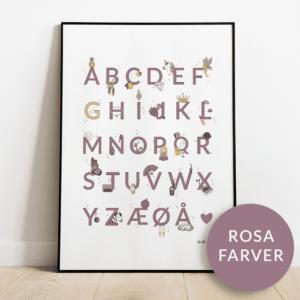 Alfabetplakat | Prinsesse | Rosa