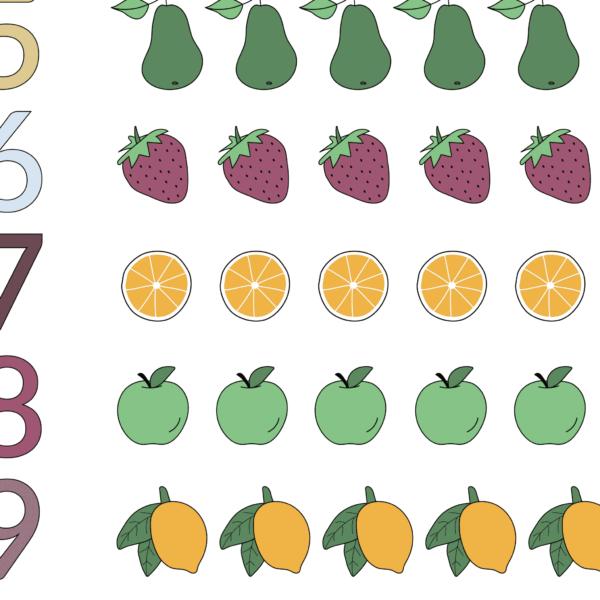 Talplakat | Frugter Rækker | Regnbue