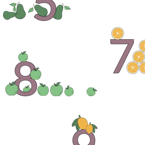 Talplakat   Frugter samlet   Rosa