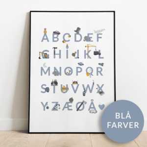 Alfabetplakat | Maskiner | Blå