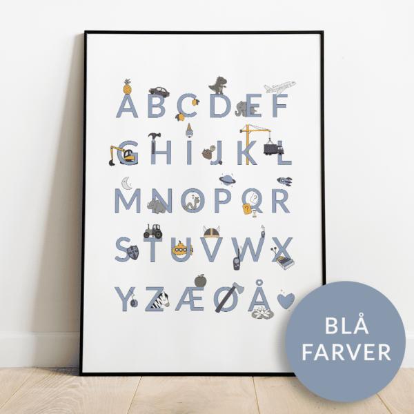 Alfabetplakat   Maskiner   Blå