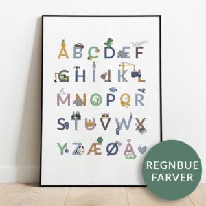 Alfabetplakat | Maskiner | Regnbue